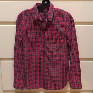 J Crew pullover in red tartan size 4